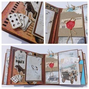 Félévszázad képekben - egyedi, kézműves mixed media születésnapi scrapbook album, Otthon & Lakás, Papír írószer, Album & Fotóalbum, Papírművészet, Gyönyörű születésnapi scrapbook albumot készítettem mixed media technikával teljes mértékben személy..., Meska