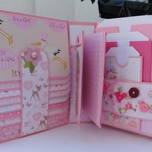 Egyedi, kézműves baba scrapbook album, kislány fotóalbum, Gyerek & játék, Gyerekszoba, Otthon & lakás, Naptár, képeslap, album, Fotóalbum, Papírművészet, Egyedi, kézműves scrapbook fólio album kislányoknak, melyben megőrizheted a kicsi hercegnőd első évé..., Meska