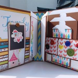 Vidám, színes, egyedi, kézműves családi scrapbook album, családi fotóalbum, Album & Fotóalbum, Papír írószer, Otthon & Lakás, Papírművészet, Vidám, színes, egyedi, kézműves scrapbook fólio album csalládoknak, melyben megőrizheted a családod ..., Meska