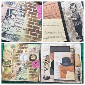 Our wedding day - egyedi, kézműves esküvői scrapbook album, emlékkönyv, Esküvő, Nászajándék, Otthon & lakás, Naptár, képeslap, album, Fotóalbum, Papírművészet, Szereted a retrot, a régiest? Szeretnéd az esküvői fotóidat egy ilyen albumban megőrizni? Akkor bemu..., Meska