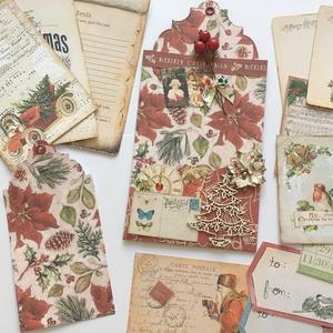 Egyedi, kézműves karácsonyi üdvözlő-, köszönő- és ajándékkártya, vintage, tag,  (Jbgifts) - Meska.hu