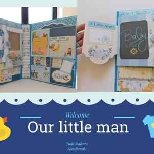 Egyedi, kézműves baba scrapbook album, kisfiú fotóalbum 3, Album & Fotóalbum, Papír írószer, Otthon & Lakás, Papírművészet, Egyedi, kézműves scrapbook fólio album kisfiúknak, melyben megőrizheted a kicsi herceged első évének..., Meska