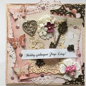 Happy birthday! - egyedi, kézműves shabby vintage stílusú születésnapi képeslap hölgyeknek, évforduló, Képeslap & Levélpapír, Papír írószer, Otthon & Lakás, Papírművészet, Kreatív, különleges, kézműves shabby- vintage stílusú születésnapi képeslapot készítettem személyre ..., Meska