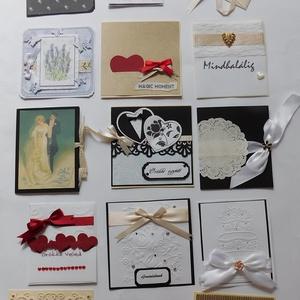 Akciós egyedi, kézműves esküvői képeslapok, fekete, fehér, bordó, kraft (Jbgifts) - Meska.hu