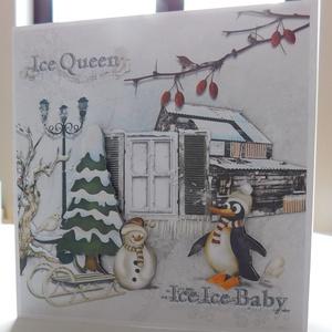 Ice ice baby - Karácsony 2020- egyedi, kézműves karácsonyi képeslap, karácsony, Christmas card, Karácsony & Mikulás, Karácsonyi képeslap, Papírművészet, A Karácsony 2020 képeslapsorozatom annyira egyedi, hogy a sorozatban lévő minden képeslapból egyetle..., Meska