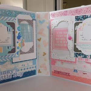 Egyedi, kézműves ikerbaba scrapbook album, kisfiú, kislány fotóalbum, Otthon & Lakás, Ovi- és sulikezdés, Papír írószer, Album & Fotóalbum, Egyedi, kézműves scrapbook fólio album ikreknek (kisfiú- kislány), melyben megőrizheted a kicsi herc..., Meska