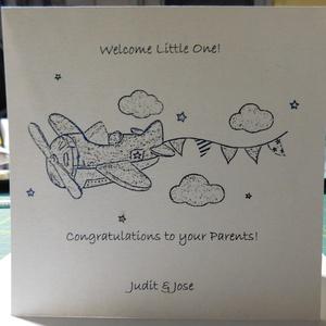 Fóliázott képeslap kisfiú születésére, foil card, Otthon & Lakás, Papír írószer, Képeslap & Levélpapír, Papírművészet, Meska
