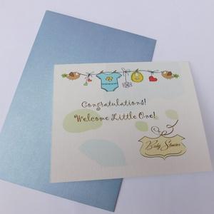 Welcome Little One!- egyedi kézműves fóliázott képeslap babaszületésre, babalátogatásra, Otthon & Lakás, Papír írószer, Képeslap & Levélpapír, Szép, egyedi, kézműves képeslapot készítettem, mellyel köszöntheted az újsyülött babát és szüleit. A..., Meska