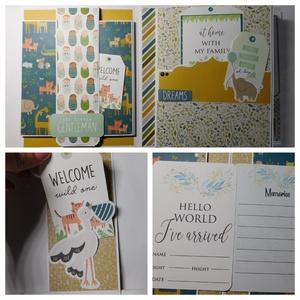 """""""Hello World! I've arrived!"""" - egyedi, kézműves scrapbook babakönyv kisfiúknak, Otthon & Lakás, Papír írószer, Album & Fotóalbum, Ez a nagyméretű, teljes mértékben kézzel készült babakönyv szuper interaktív. 6 oldala van, számos e..., Meska"""