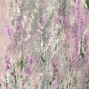 Levendulásban   festmény, Képzőművészet, Otthon & lakás, Festmény, Akril, Festészet, 30,5x23 cm akril festmény ezüst, rózsaszín, lila strukturált felülettel., Meska