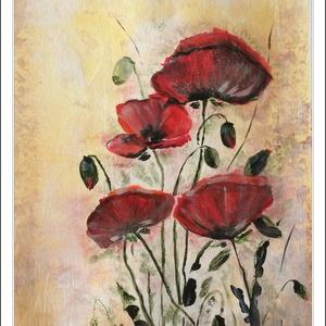 Ezüstös pipacsos kép, Képzőművészet, Otthon & lakás, Festmény, Akril, Festészet, Akril festmény 30,5x23 cm.\nMérete miatt csak csomagként veszi fel a posta, mely fixtarifája 0-2kg =1..., Meska