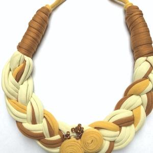 AKCIÓS  Sárga-barna  textilékszer, Ékszer, Nyaklánc, NoWaste, Táska, Divat & Szépség, Ékszerkészítés, Fémmentes ,hurkoltszálas nyaklánc, állítható hosszúságú., Meska