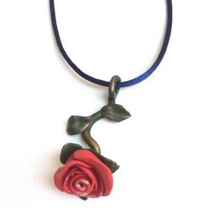 Egy szál rózsa, Ékszer, Nyaklánc, Gyurma, Kerámia, Ékszergyurma  medál bronzos pigmentációval., Meska