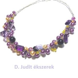 LILA-SÁRGA   gyöngysor, Gyöngyös nyaklác, Nyaklánc, Ékszer, Ékszerkészítés, Horgolás, 50 cm hosszú, sokféle gyöngyből készült nyaklánc.\n, Meska