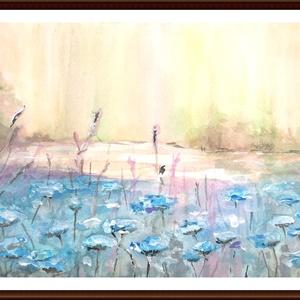 Kékvirágos mező   festmény, Egyéb, Otthon & lakás, Képzőművészet, Festmény, Akvarell, Festészet, 24 x 16 cm akvarell festmény. A keret csak illusztráció., Meska