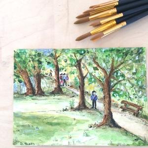 Erdei kirándulás  festmény, Otthon & lakás, Képzőművészet, Festmény, Akvarell, Festészet, Akvarell festmény 20 x 14,5 cm, Meska