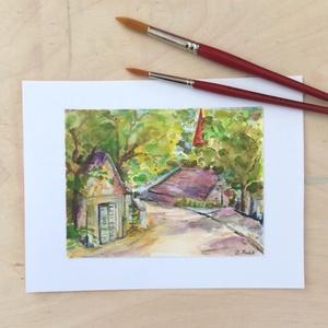 Balaton-felvidék  festmény, Otthon & lakás, Képzőművészet, Festmény, Akvarell, Festészet, 16 x 12 cm akvarell festmény, Meska