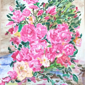 Virág csendélet, Otthon & lakás, Képzőművészet, Festmény, Akril, Festészet, 29 x 20 cm akril festmény, Meska