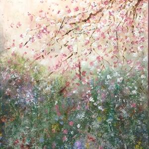 Virágba borulva   festmény, Otthon & lakás, Képzőművészet, Festmény, Akril, Festészet, 50 x 40 cm  feszített vászonra készült akril festmény., Meska