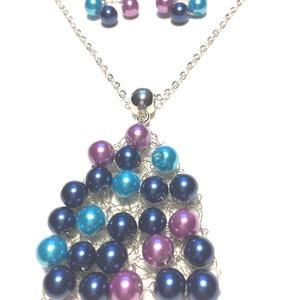 Kék-türkíz-orgona, Ékszer, Nyaklánc, Gyöngyös nyaklác, Horgolás, 55 cm hosszú nyaklánc gyöngyös medállal. Fülbevaló 5 cm, Meska