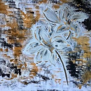 Fehér virágok a sötétben , Művészet, Festmény, Akril, Fotó, grafika, rajz, illusztráció, Festészet, Egy szintén divatos kép ...\nOtthoni dekoracio .... \nEgyedi es kezmuves\nAkril festek \n\nMéret 28x35 cm..., Meska