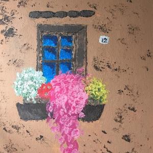 Akril festek Párkány, Akril, Festmény, Művészet, Festészet, Egy szintén divatos kép ... Párkány virágokkal  :) otthonos és melegséggel tölti el a családi légkör..., Meska