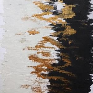 Absztrakt Arany,fehér,fekete, Művészet, Festmény, Akril, Festészet, Egy szintén divatos kép ... Absztrakt fehér fekete gold   :) egy modern környezetbe ... \nOtthoni dek..., Meska