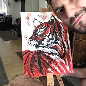 A tigris, Otthon & lakás, Képzőművészet, Festmény, Akril, Dekoráció, Napi festmény, kép, Egy szintén divatos kép ...#  A tigris #egy otthon szép dekorációja lehet ...   :) egy modern környe..., Meska