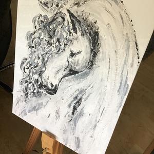 A fehér ló, Otthon & lakás, Képzőművészet, Festmény, Akril, Dekoráció, Napi festmény, kép, Festészet, Egy szintén divatos kép ...#  A feher ló #egy otthon szép dekorációja ...   :) egy modern környezetb..., Meska