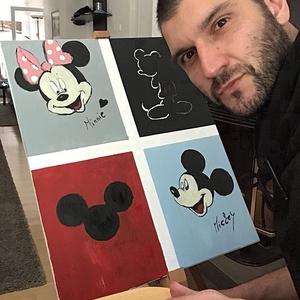 Mickey mouse Art paint , Otthon & lakás, Képzőművészet, Festmény, Akril, Dekoráció, Napi festmény, kép, Festészet, Egy szintén divatos kép ...#  Mickey mouse   #egy otthon szép dekorációja ...   :) egy modern környe..., Meska