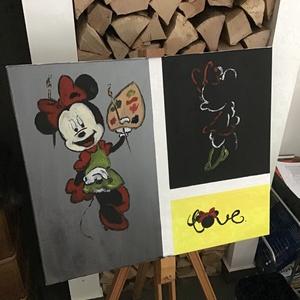 Minnie mouse Art paint, Otthon & lakás, Képzőművészet, Festmény, Akril, Dekoráció, Napi festmény, kép, Egy szintén divatos kép ...#  Mickey mouse   #egy otthon szép dekorációja ...   :) egy modern környe..., Meska