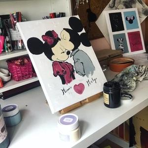 Minnie and Mickey mouse Art paint ( janosszecsi ), Otthon & lakás, Képzőművészet, Festmény, Akril, Dekoráció, Napi festmény, kép, Egy szintén divatos kép ...#  Mickey&minnie mouse   #egy otthon szép dekorációja ...   :) egy modern..., Meska