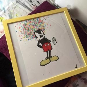 Túl sok a hab Mickey ;), Akril, Festmény, Művészet, Festészet, Egy szintén divatos kép ... Mickey   :) a modern környezet és kissé merengő hatás  .\nOtthoni dekorác..., Meska