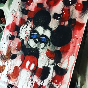Mickey Mouse a vagany (janosszecsi), Művészet, Festmény, Akril, Fotó, grafika, rajz, illusztráció, Ragasztott vaszon\n\nArt ☝#art #paint #painting #decoration #drawing #photography #photooftheday #pict..., Meska
