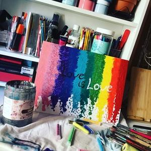 Love is love szivarvany art , Akril, Festmény, Művészet, Festészet, Egy szintén divatos kép ... #egy otthon szép dekorációja lehet ...   :) egy modern környezetbe ... \n..., Meska