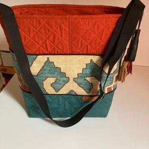 táska, válltáska oldaltáska, Táska & Tok, Bevásárlás & Shopper táska, Varrás,  Inka motívumokkal, természetes színekkel szövött táskát készítettem. A steppelés és a táskamerevítő..., Meska