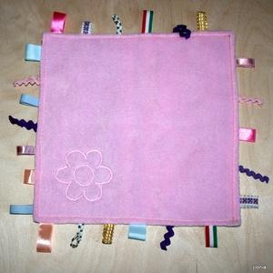 csíkos virágos rózsaszín babajáték címkerongyi - játék & gyerek - 3 éves kor alattiaknak - alvóka & rongyi - Meska.hu