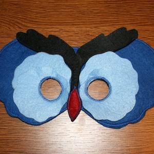 Bagoly  álarc filcből Kék fekete színekben, Ruha & Divat, Jelmez & Álarc, Álarc, Varrás, Bagoly alakú álarc két réteg filcből varrtam.\nA szabásmintát is magam készítettem hozzá.\n\nMérete: Kb..., Meska