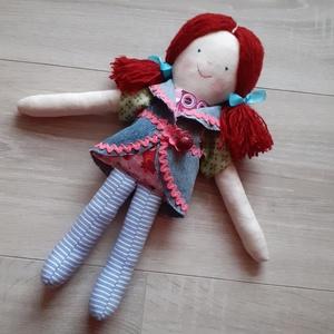 Vörös copfos öltöztethető textilbaba rongybaba - Meska.hu