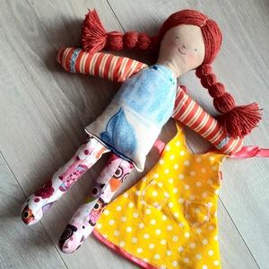 Lány rongybaba textilbaba baba öltöztethető  - Meska.hu