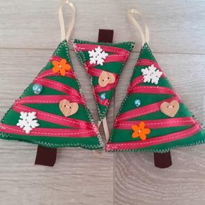 Zöld-magental 3 db-os Filc karácsonyfadísz , Karácsony, Karácsonyi lakásdekoráció, Karácsonyfadíszek, Varrás, Meska