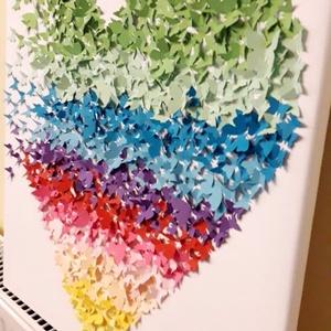 Szivárvány színű 3d-s pillangókép, Otthon & lakás, Képzőművészet, Napi festmény, kép, Esküvő, Esküvői dekoráció, Lakberendezés, Falikép, Papírművészet, 50x50-es vászonkép alapra készített 3d-s pillangókból álló falikép a szivárvány színeiben eladó. ..., Meska