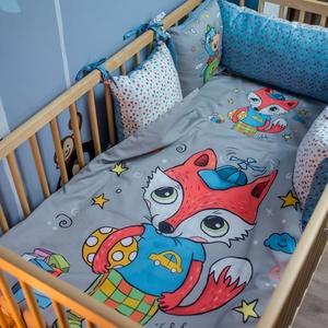 Baba ágynemű huzat - Peti, a rókakisfiú, Ágynemű, Lakástextil, Otthon & Lakás, Varrás, A MiniFun kollekció bájos figurái kisbabád kiságyába is beköltöznek. Az élénk színek fejlesztő hatás..., Meska