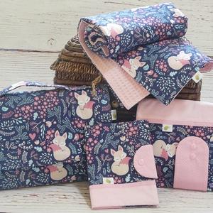 Óriás babaváró/babalátogató csomag - Kék alvó róka, Gyerek & játék, Baba-mama kellék, Varrás, Babalátogatóba mész, de nincs ötleted, mit vinnél ajándékba? Ebben segít neked ez a hatalmas csomag ..., Meska