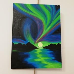 Sarki fény - akril festmény, Művészet, Festmény, Akril, Festészet, Az alkotás egy 40 x 50 cm-es feszített vászonra festett akril festmény. \nAz oldalai is festettek, íg..., Meska
