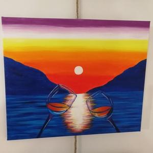 Koccintás a tengerparton - akril festmény, Művészet, Festmény, Akril, Festészet, Romantikus naplemente, tengerpart, 2 pohár bor. Más már nem is kell. \nTökéletes ajándék Valentin nap..., Meska