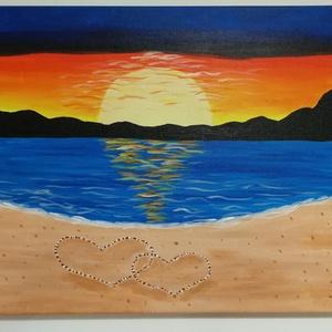 Romantika a tengerparton - akril festmény, Képzőművészet, Otthon & lakás, Festmény, Akril, Lakberendezés, Festészet, Romantikus naplemente, homokba rajzolt szívek, tengerpart. Mi kell még? Tökéletes ajándék Valentin n..., Meska