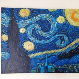 Starry Night - akril festmény, Képzőművészet, Otthon & lakás, Festmény, Akril, Lakberendezés, Festészet, Vincent van Gogh: The Starry Night festménye után készült alkotásom.\n\nAz alkotás egy 50 x 40 cm-es f..., Meska