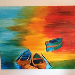 Csónakok - akril festmény, Képzőművészet, Otthon & lakás, Festmény, Akril, Lakberendezés, Festészet, Az alkotás egy 46 x 38 cm-es feszített vászonra festett akril festmény. \nAz oldalai is festettek, íg..., Meska