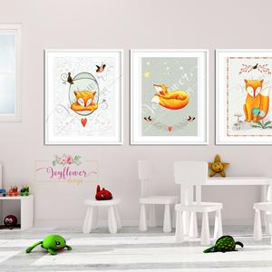 Róka koma szett - babaszoba dekoráció, Állatok festmény,  Erdei állatok, gombák, róka, Gyerekszoba dekor, Falikép,  (joyflowerdesign) - Meska.hu